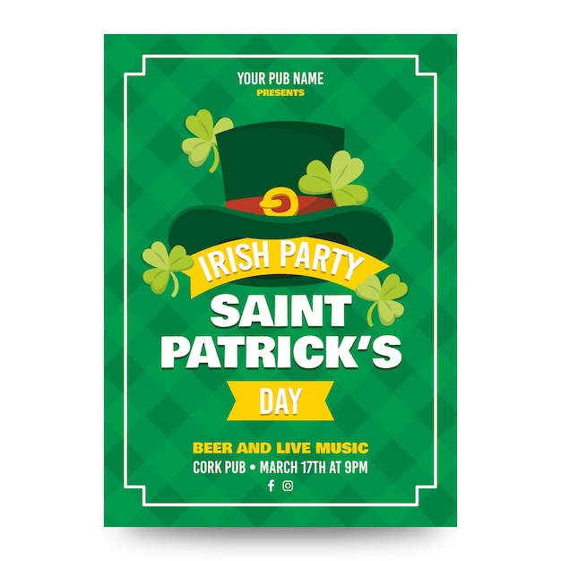 St. patrick's day poster with top hat and clovers Free Vector