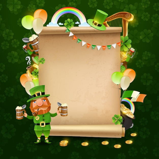 St patrick's day scroll Free Vector