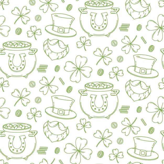 St. patrick's day seamless pattern design background Premium Vector