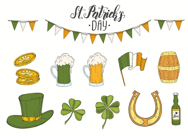 St patrick's day set with hand drawn Premium Vector