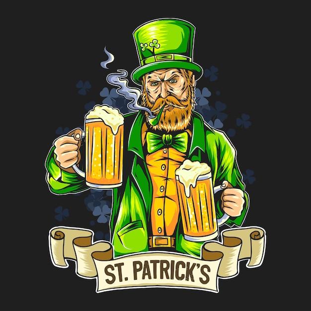 День святого патрика курящий борода мужчина держит два больших пива Premium векторы