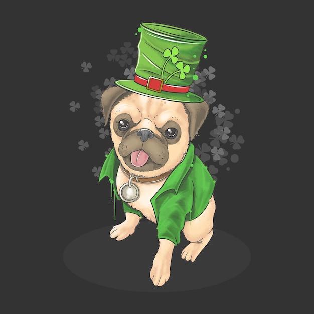 В день святого патрика мопс носит симпатичную шляпу и костюм. Premium векторы