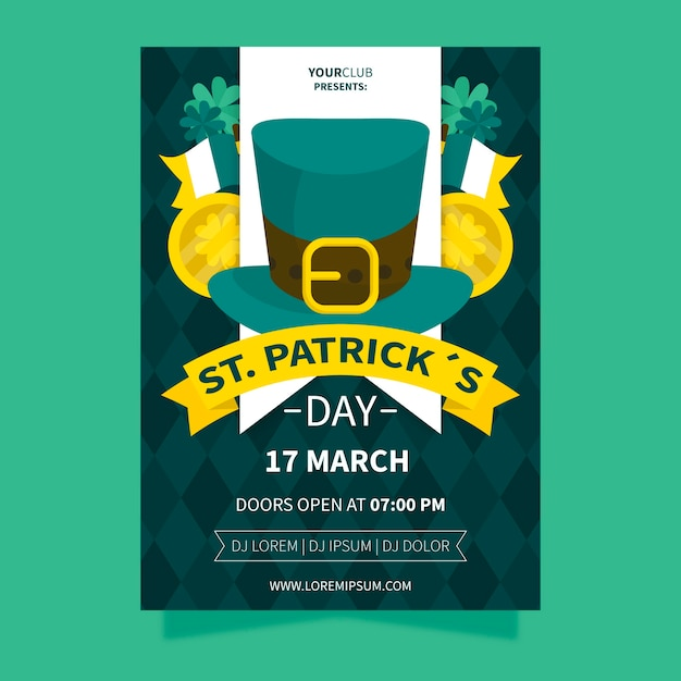 St. patrick's day with irish top hat and ribbons Free Vector