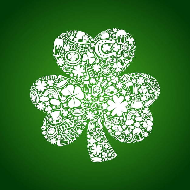 St patrick's days card of white objects Premium Vector