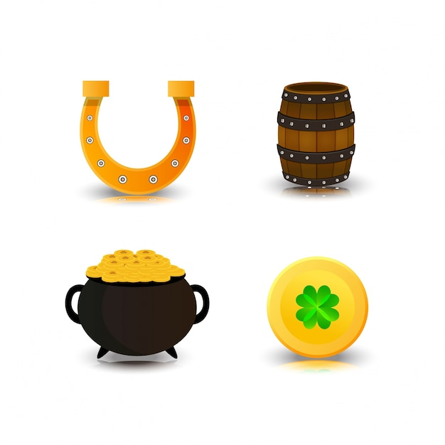 St Patrick's icons set vector Free Vector