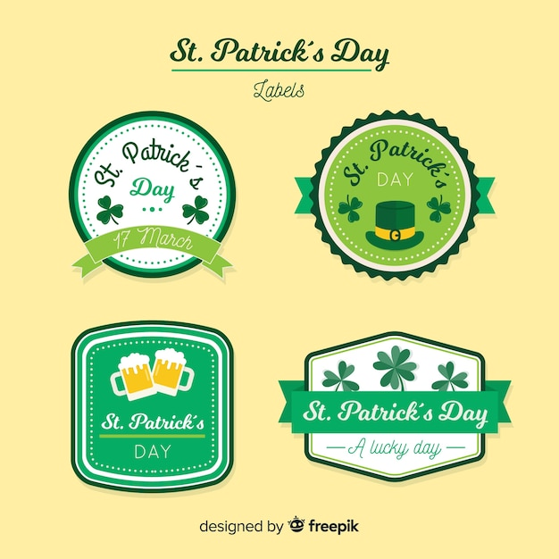 St patrick's label collection Free Vector