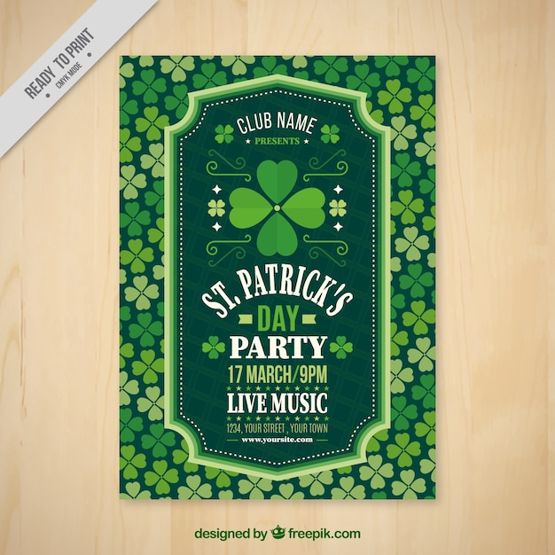 St. patrick's party flyer Free Vector