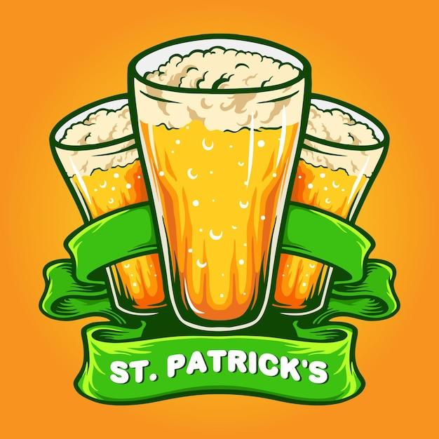 St patrick`s three glasses beer with ribbon illustration Premium Vector