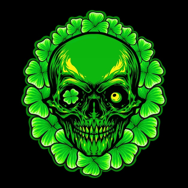 St patrick skull leaf clover frame illustration Premium Vector