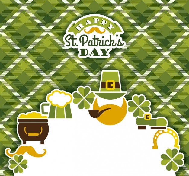 St. patricks card on gingham background Free Vector