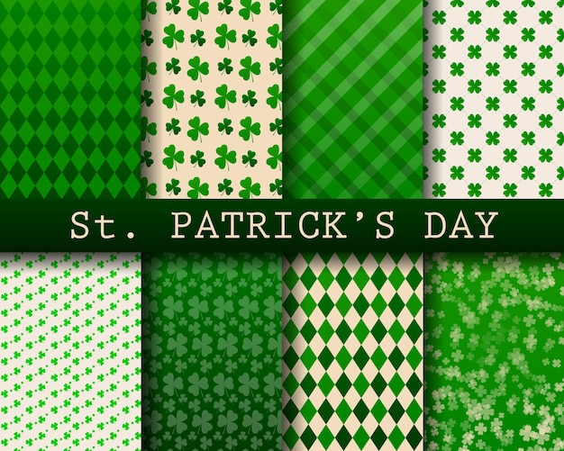 St.patricks day background collection, seamless pattern Premium Vector