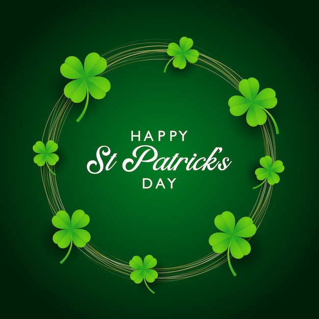St patricks day background with clover and gold circles Free Vector