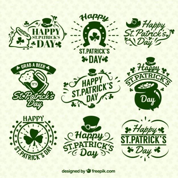 St patricks day badges Free Vector