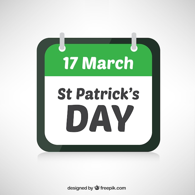 St patricks day calendar Free Vector
