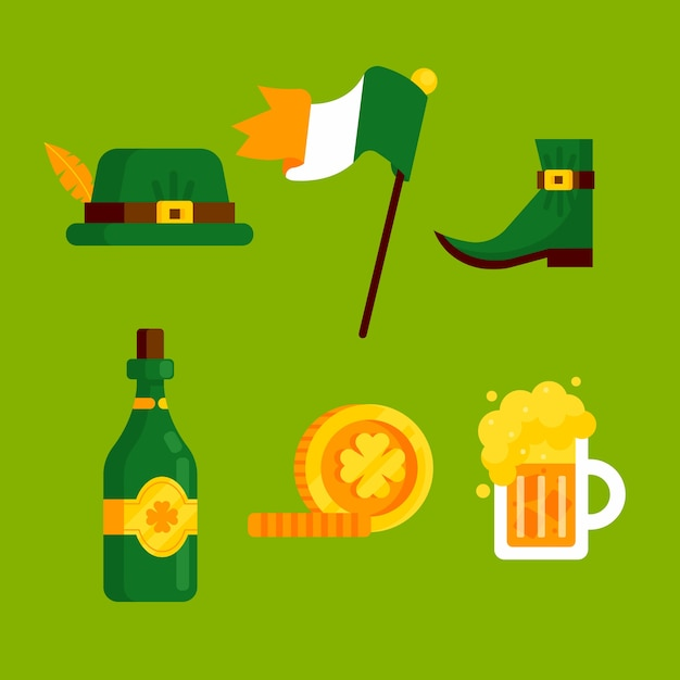 St. patricks day element collection Free Vector