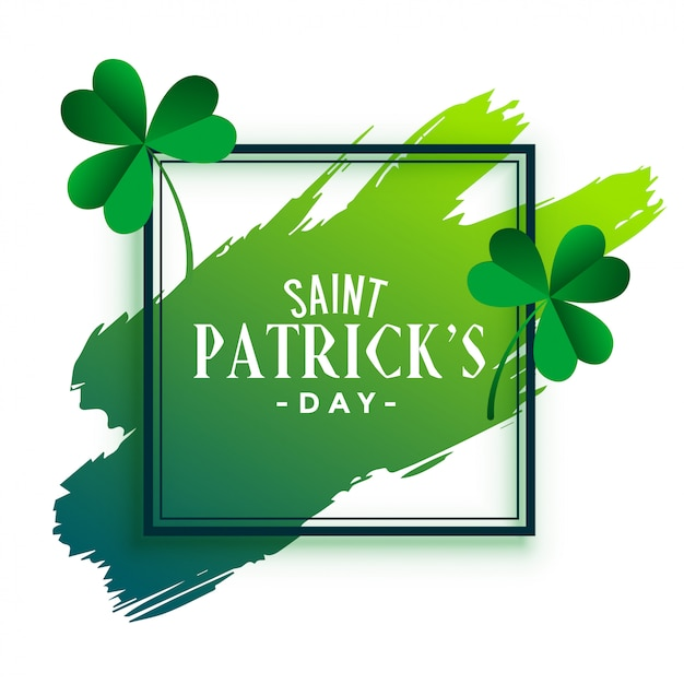 St patricks day frame with leaves and brush stroke Free Vector