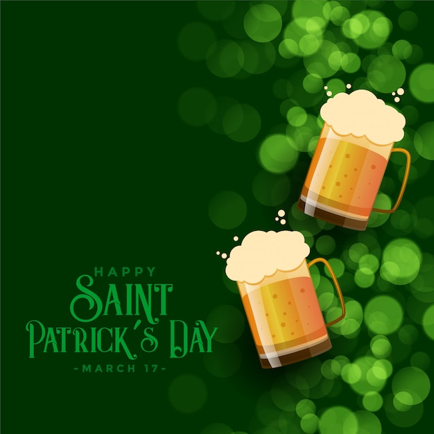 St patricks day green bokeh background with beer mugs Free Vector