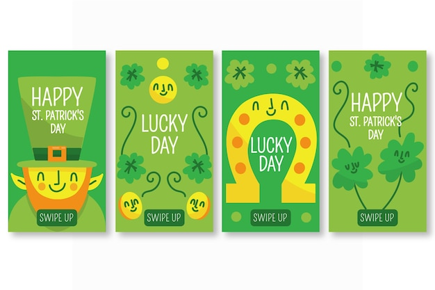 St. patricks day instagram stories collection Free Vector