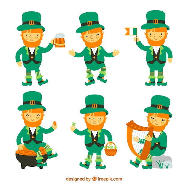 St patricks day leprechaun collection Free Vector