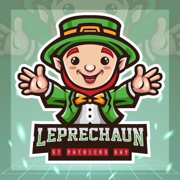 St. patricks day leprechaun cute cartoon mascot. esport logo design. Premium Vector