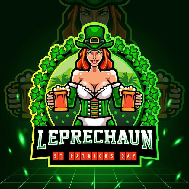 St. patricks day. leprechaun girls mascot. esport logo . Premium Vector
