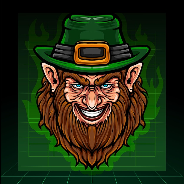 St. patricks day leprechaun head mascot fantasy arts. esport logo design. Premium Vector