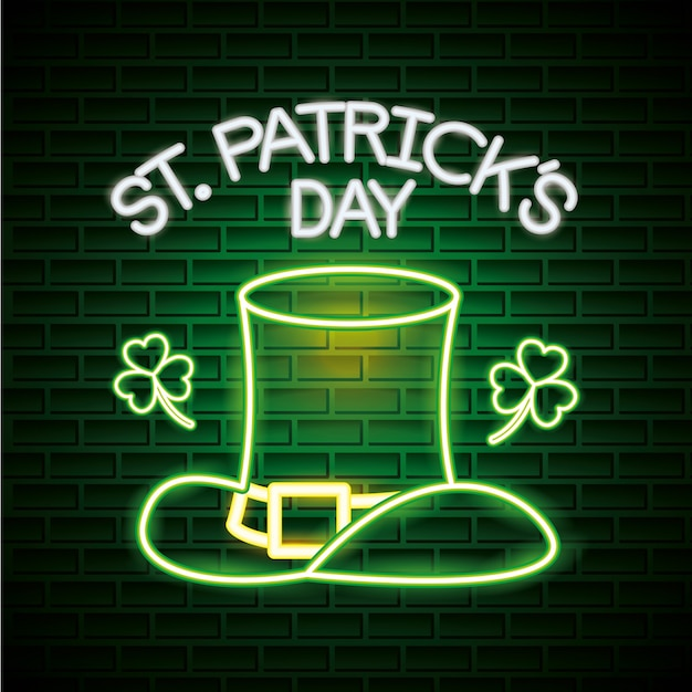 St patricks day neon style Free Vector