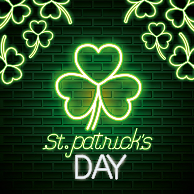St patricks day neon Free Vector