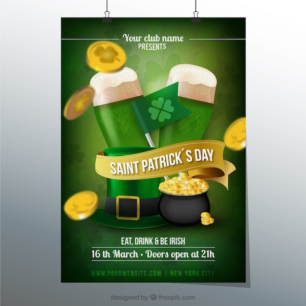 st patricks day poster vector | free download, Presentation templates