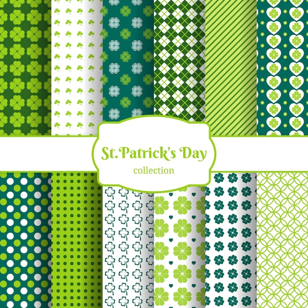 St patricks day seamless pattern background set with green leaves of clover Free Vector