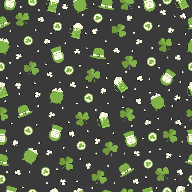 St patricks day seamless pattern with irish man, clover, leprechaun hat, beer on black background. greeting, wrapping paper and wallpaper  . Premium Vector