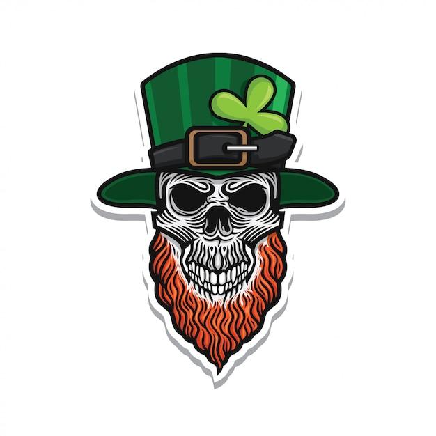 St patricks day skull illustration Premium Vector