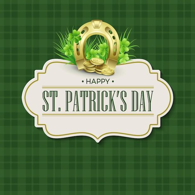 Дизайн значка праздника дня святого патрика винтажный. иллюстрация Premium векторы