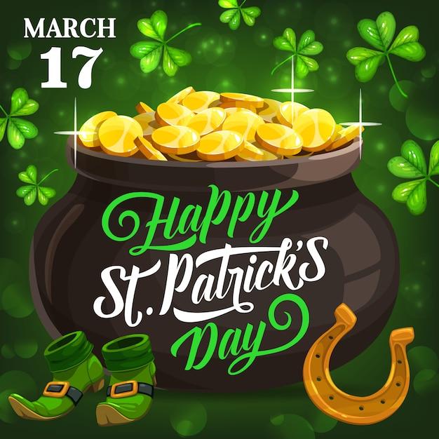 St. patricks feast poster, symbols of ireland Premium Vector