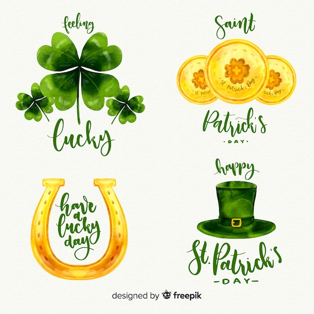 St patricks's day element collection Free Vector