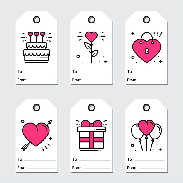 3345a323c35dd St valentine's day gift tags. Vector | Premium Download
