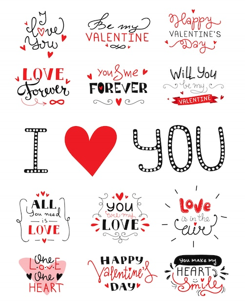 St. valentine's day hand lettering Premium Vector