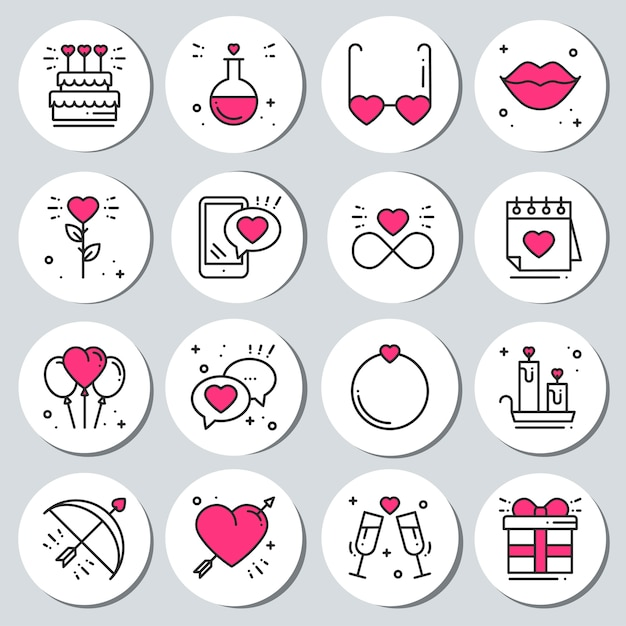2adccd18186 St valentine s day stickers set. labels badges. Premium Vector