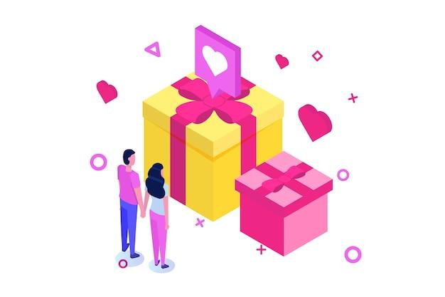 大きなプレゼントギフトボックスとピンクの心と聖valintane日等尺性概念 Premiumベクター