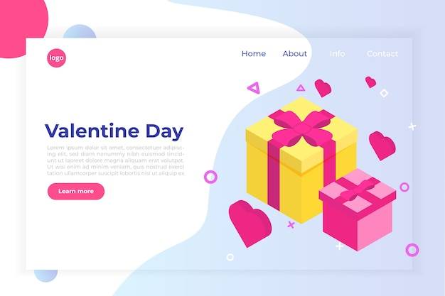 St valintane day isometric concept with big present gift box and pink hearts Premium Vector