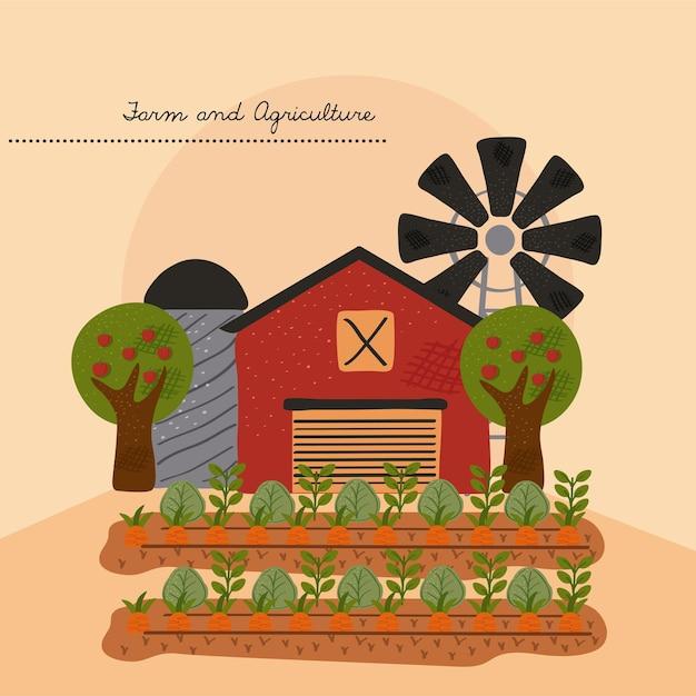 風車とcultivevectorのイラストデザインで安定した農場の建物 Premiumベクター