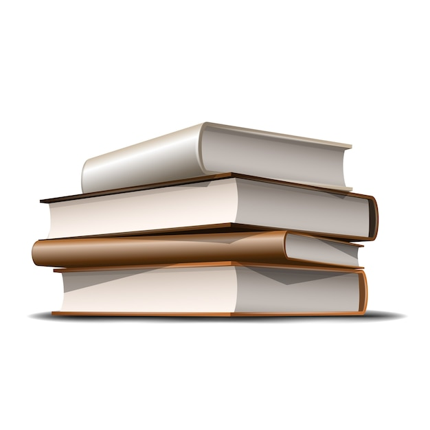 Stack of beige and brown books. books various colors  on white background.  illustration Premium Vector