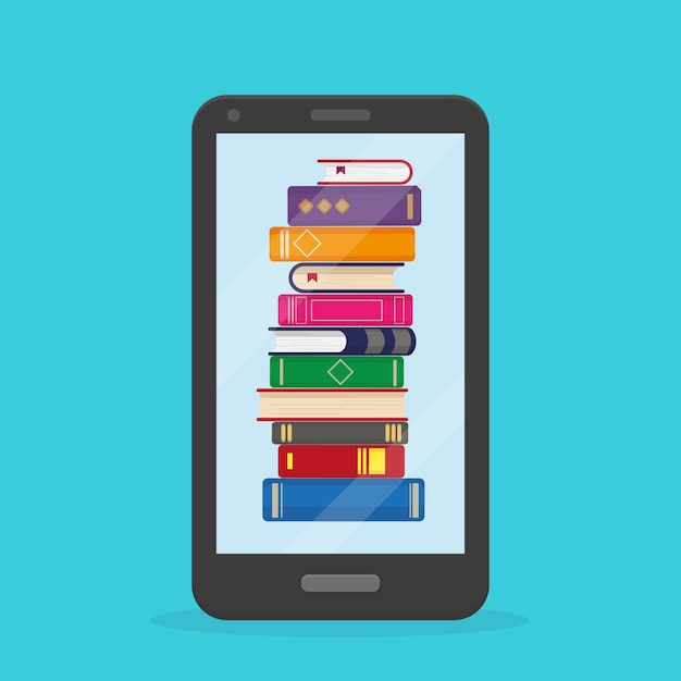Stack of books into the mobile phone on blue background. Premium Vector