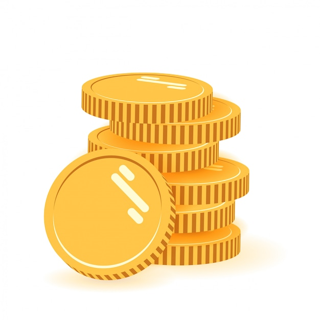 Stack of coins with coin in front of it. icon flat, coins pile, coins money, one golden coin standing on stacked gold coins modern design isolated on white background. Premium Vector