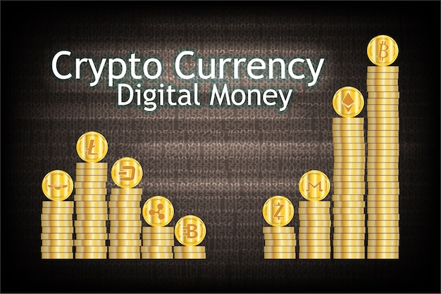 Stack of cryptocurrency gold coin. Premium Vector