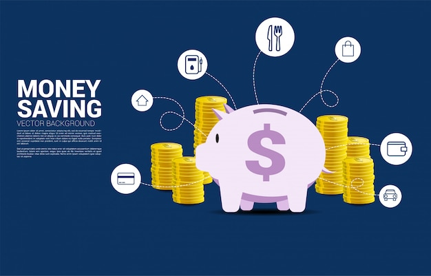 Stack of dollar coin and piggy bank with monthly cost icon Premium Vector