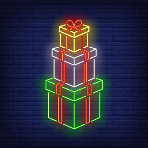 Stack of gifts in neon style Free Vector