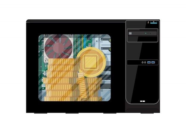 Stack of golden coin inside of computer case. Premium Vector