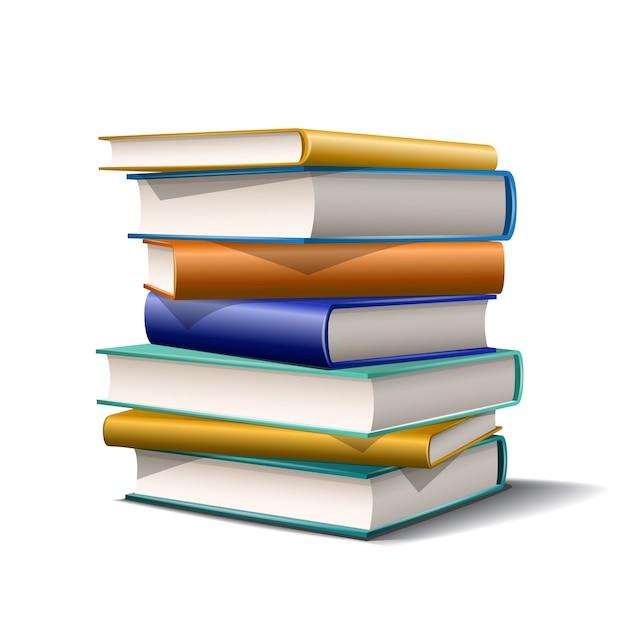 Стопка синих и желтых книг. книги различных цветов на белом фоне. иллюстрация Premium векторы