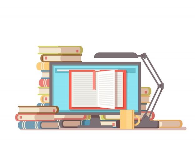 Стопка книг, чашка кофе, настольная лампа экран пк с открытой книгой. библиотека онлайн квартира концепции. Premium векторы